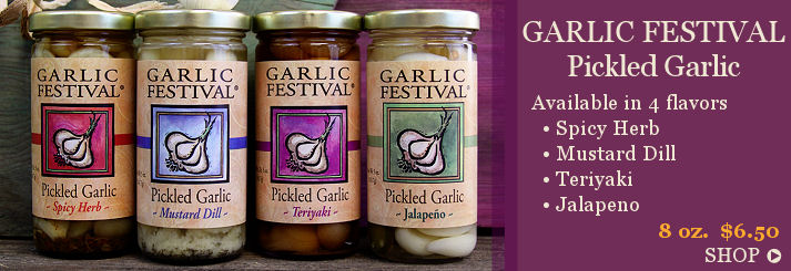 Specialty pickled garlic and olives from Garlic Festival Foods